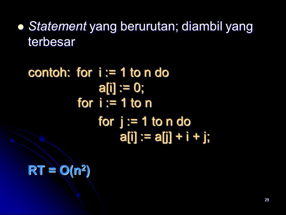 Statement yang berurutan; diambil yang terbesar contoh: for i := 1 to n do a[i] := 0; for i := 1 to n